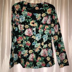 NY COLLECTION floral peplum blazer
